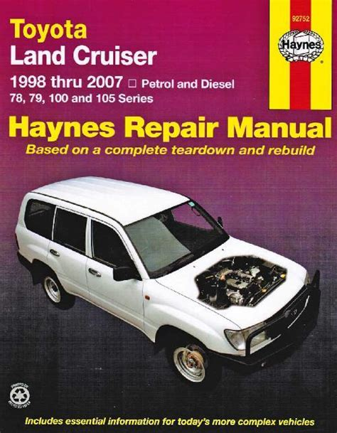 toyota land cruiser petrol diesel 1998 2007 haynes service repair workshop manual sagin