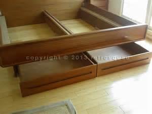 modern teak king platform bed 2 storage drawers