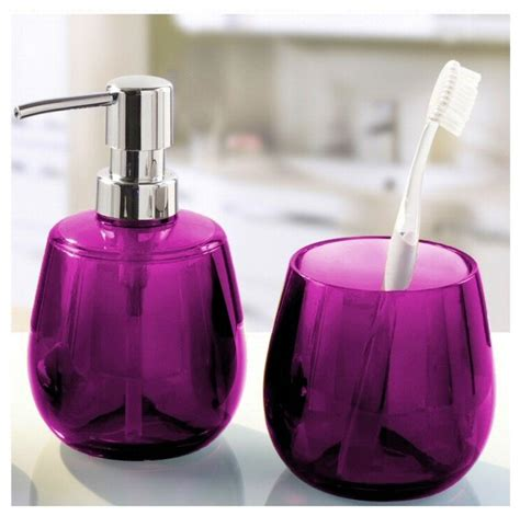 unique bathroom accessories set 2 pieces purple