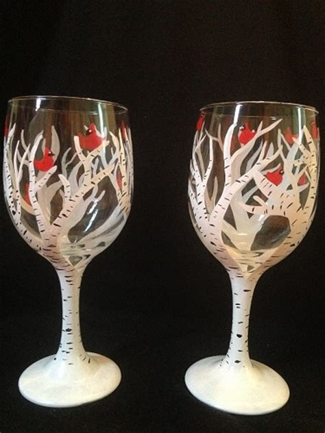 paint nite wine glasses paint nite birch tree wine glasses