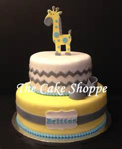 baby shower giraffe and chevron print cake cakes by the cake shoppe pinterest baby shower