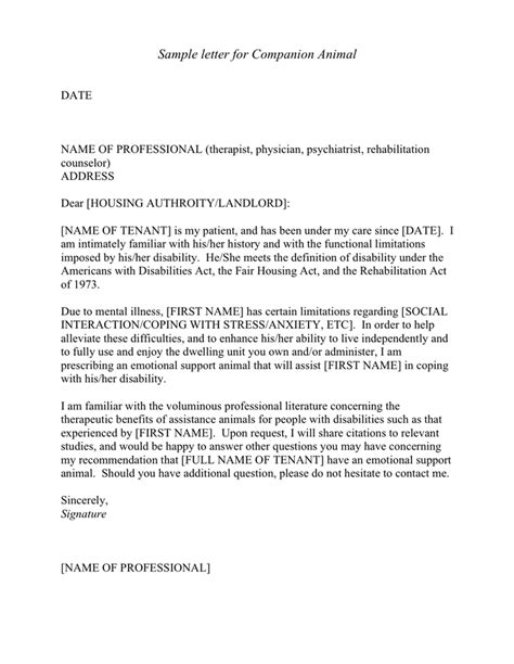 Sle Letter For Companion Animal In Word And Pdf Formats Companion Letter Template