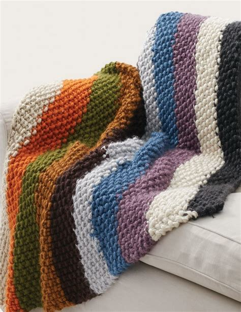 easy knitted afghan patterns simple striped seed stitch afghan allfreeknitting