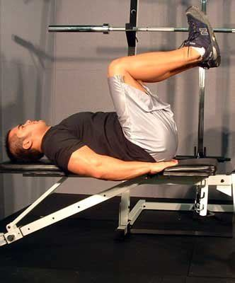 bench leg pull in crunches and back exercises