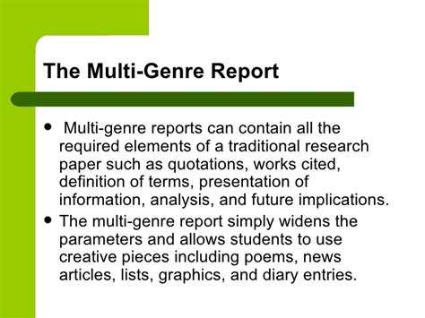 Multigenre Research Paper Assignment by Multigenre Research Paper Multi Genre Multigenre Project Guidelines Rust Fall 2014 Multigenre