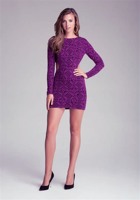 Bebeo More Beautiful Clothes From by Bebe Sleeve Keyhole Dress In Purple Lyst
