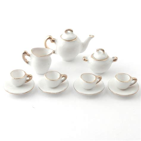 Coffee Set d2187 white and gold tea set dolls house superstore