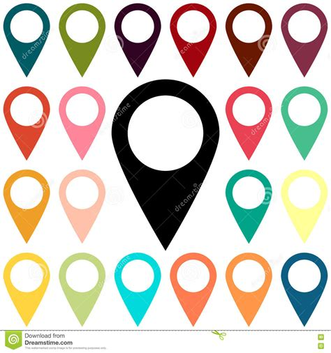 color pin map pin location icon vector illustration cartoondealer