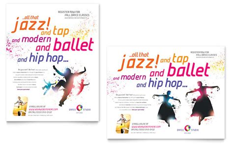 magazine template microsoft publisher dance studio poster template design