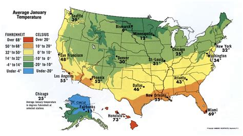 usa temp map january temperature of usa