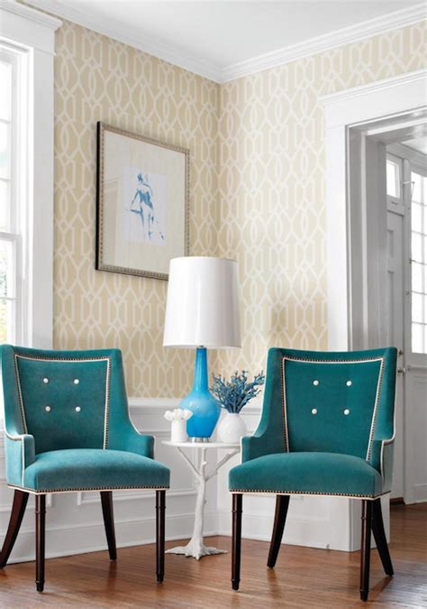 thibaut designs peaock blue chairs contemporary living room thibaut
