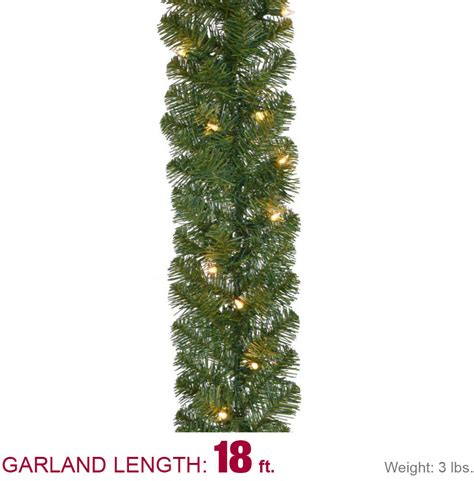 home accents holiday 18 ft pre lit noble fir garland with