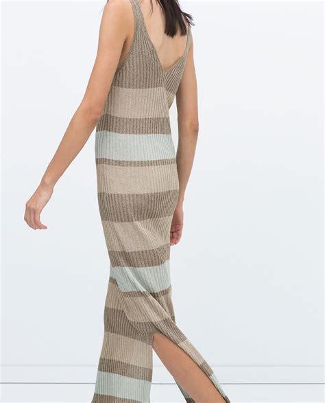 Zara Striped Dress zara brown striped ribbed dress lyst