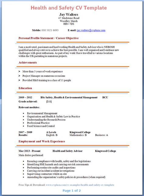 Resume Sample Download For Freshers by Health And Safety Advisor Cv