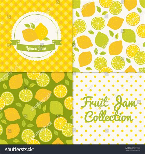 Seamless Patterns With Gingham Polka Dot Iphone Semua Hp lemon jam collection paper label stock vector 273271586