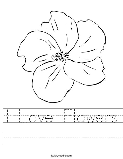 printable worksheets about flowers i love flowers worksheet twisty noodle