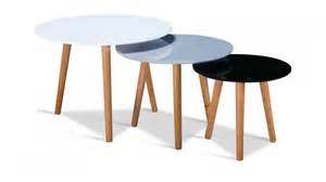 High gloss white black grey round nest of tables homegenies