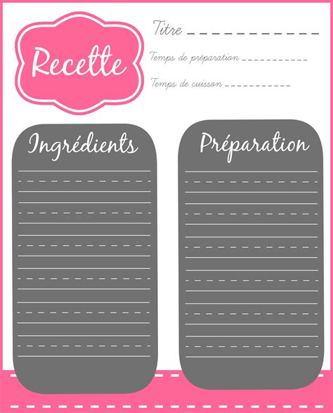 cahier de cuisine à remplir fiche recette carnet de recette fiches
