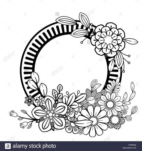 cornici bianco e nero fiori cornice decorativa isolato su sfondo bianco floreali