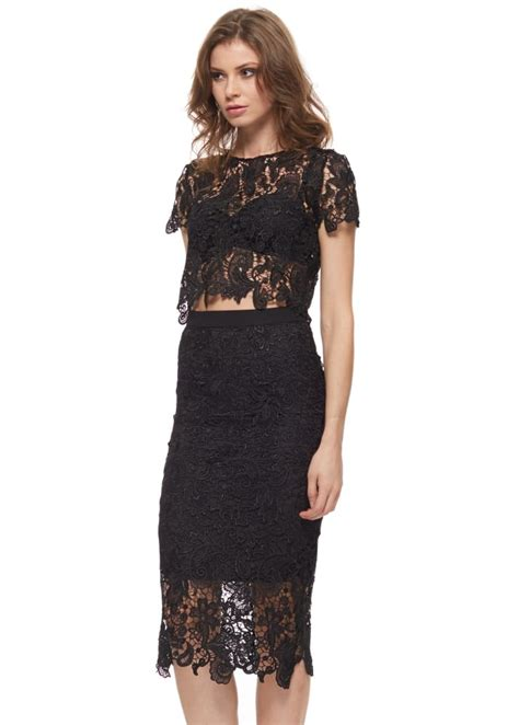 abyss bunny lace set black lace pencil skirt top