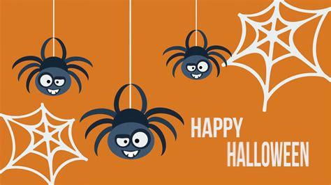 card animation template three hanging flat spiders happy