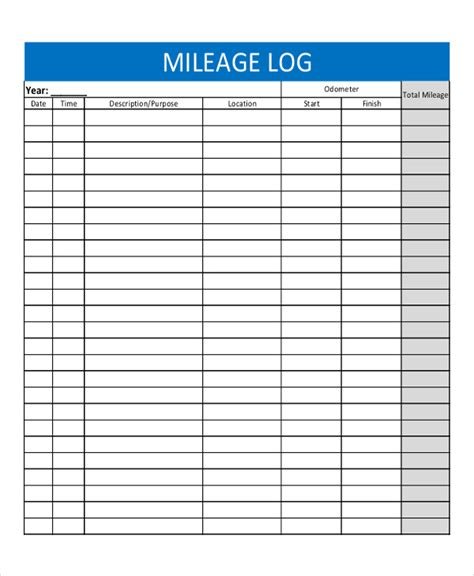 mileage templates printable pictures to pin on pinterest