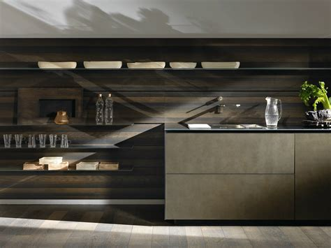 linear steel fitted kitchen riciclantica inox touch by