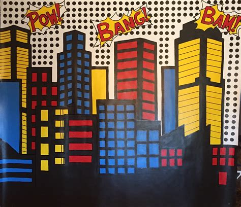 Skyline Wall Mural superhero party backdrop superhero photo backdrop superhero