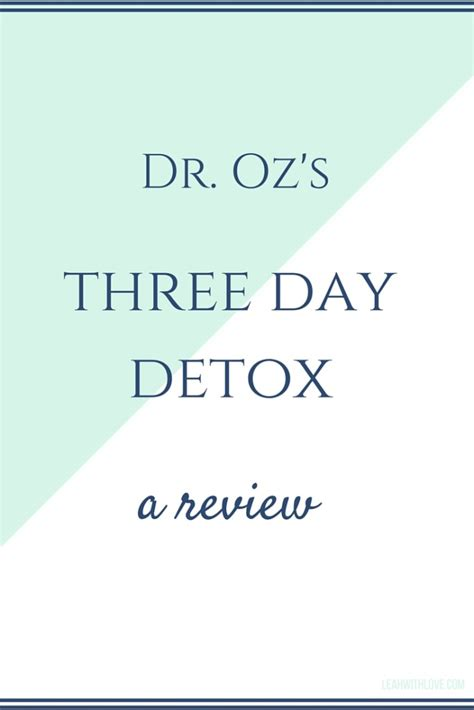Dr Oz 3 Day Sugar Detox Review by Dr Oz Three Day Detox Review With