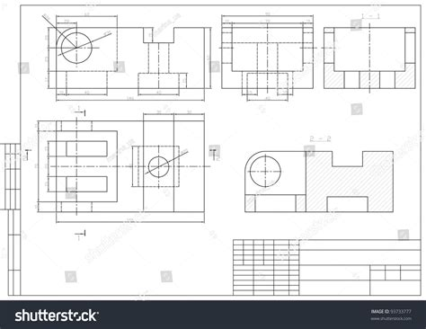 Drawing Z In Autocad by Drawing Some Machine Part Autocad Vector Stock Vector