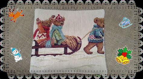 cuscino al farro cuscino con farro motivo invernale con stoffa gobelin