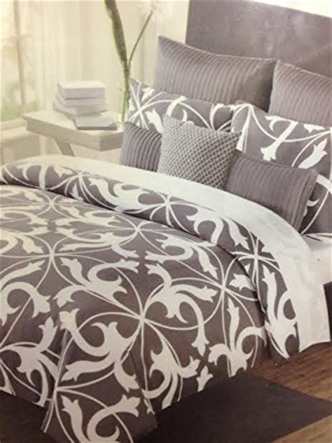 tahari home grey white 6 pieces comforter set
