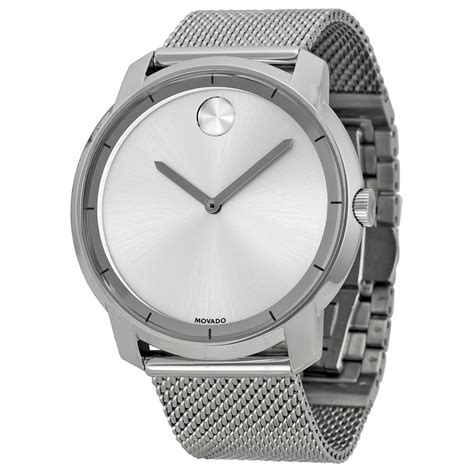 movado bold silver stainless steel mesh s