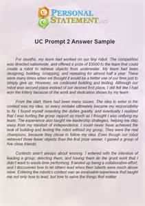 Essay Prompts Exles by Uc Personal Statement Prompt 2 Answer Uc Personal Statement