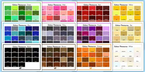 color synonyms colour thesaurus word mats pack colour colour thesaurus