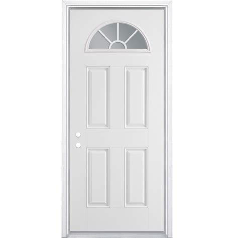 78 Inch Exterior Door Shop Masonite 4 Panel Insulating Fan Lite Right Inswing Steel Primed Prehung Entry