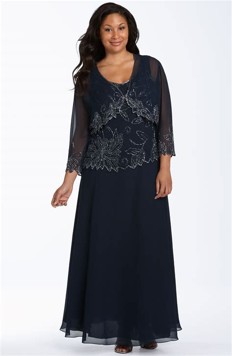 j kara beaded gown j kara beaded dress sheer jacket in black navy luster