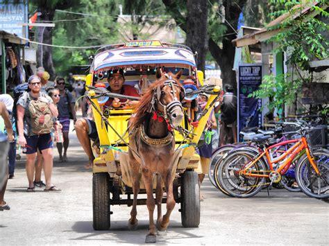 horse cart taxi riding  gili trawangan lombok