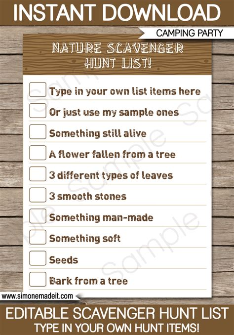 Scavenger Hunt Template Cing Scavenger Hunt List Printable Template