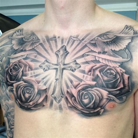 tattoo of cross on chest religious chest black and grey roses and