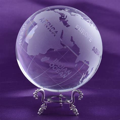 Home Decor Globe by Longwin 100mm Frosted Clear Crystal Earth Globe World