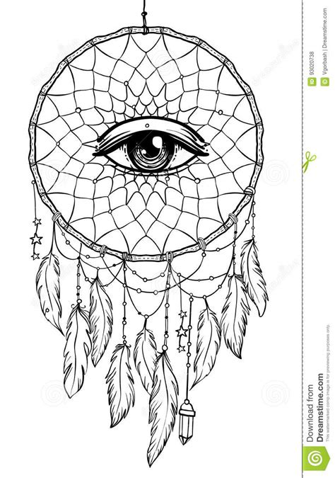 Hand Drawn Native American Indian Talisman Dreamcatcher