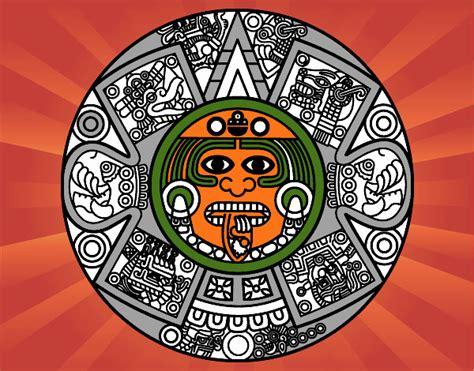 Calendario Azteca Para Colorear Dibujo De Calendario Azteca Pintado Por En Dibujos Net El