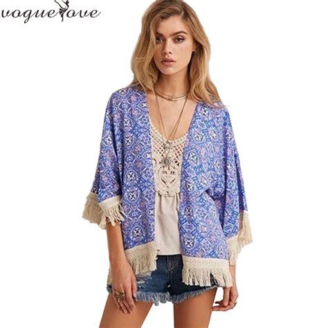 Tassel Blouse By Fashion fashion spain style chiffon kimono cardigan tassel regular floral print blouse mujer ropa