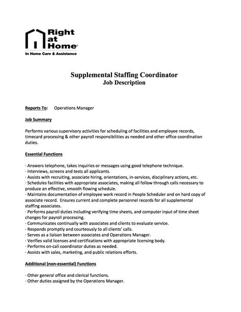 staffing coordinator description staffing coordinator temp grouppolicy humanresources