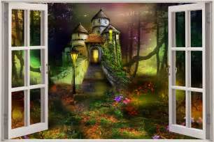 castle wall murals huge 3d window view childrens fairytale castle wall