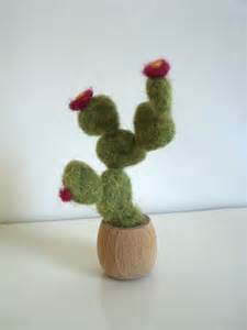 desk cactus desk decoration blooming cactus needle felted nopal