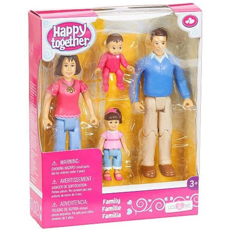 you and me doll house you me happy family family action figure set dad mom daughter and baby brown
