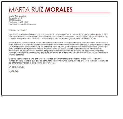 Modelo Carta De Presentacion Enviar Curriculum Modelo De Carta De Presentaci 243 N Esteticista Livecareer