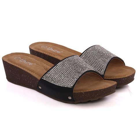 unze womens zuiys shimmery slip on wedge shoes uk size 3
